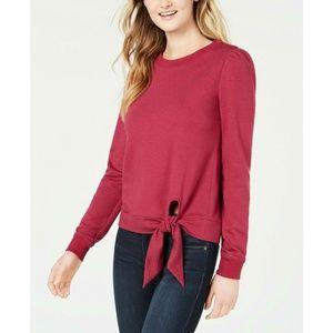 Maison Jules Ruby Wine Waist-Tie Pullover Sweater
